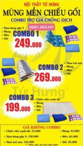 Combo 4 món nệm mền mùng chiếu gối giá rẻ tại kho
